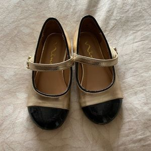 Toddler Size 7 Gold and Black dress shoes, worn 1x